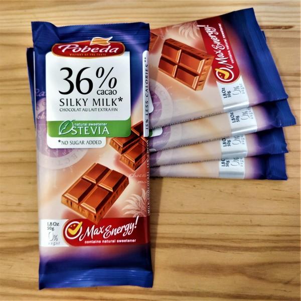 Piimašokolaad 36% Steviast, lisatud suhkruta - Pobeda Vkusa